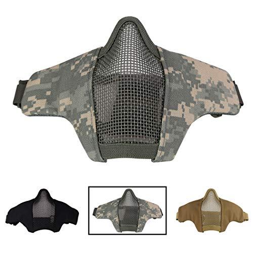 Aoutacc Airsoft Halbmaske, Stahl-Mesh für CS/Jagd/Paintball/Schießen, Faltbares ACU