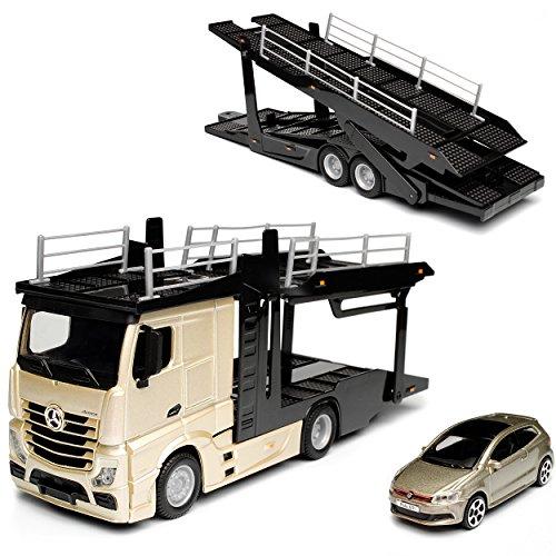 NEW Mercedes-Benz Actros 2545 Gold Beige Autotransporter LKW mit Anhänger und Volkwagen Polo Grau 1/43 Bburago Modell Auto