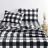 Wake In Cloud - Gray Plaid Sheet Set, Buffalo Check Gingham Geometric Checker Pattern Printed in Dark Grey White, Soft Microfiber Bedding (4pcs, Queen Size)