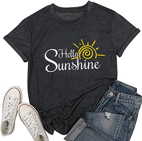 YUYUEYUE Hello Sunshine Letters Print T Shirt Women Funny Graphic Summer Short Sleeve Casual product image