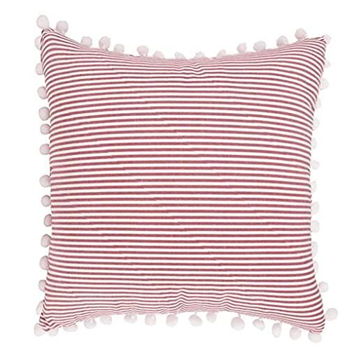 Square Örngott Comfort Säng Heavy Quality Continental Pillow Dekorativa Solid Square Örngott Cases Kasta Örngott Med Pompoms 45x45cm Red