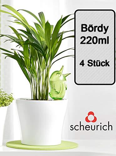 Scheurich Wasserspender Bördy M | 4 x Grün | 220ml Füllmenge | Bewässerungskugeln klein mit Ton Fuß | Wasserspender für Zimmerpflanzen und Blumen Terrakotta Stiel