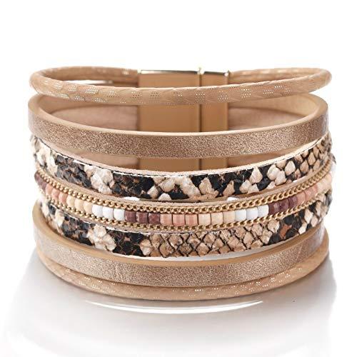 HMANE Pulseras de Cuero con patrón de Piel de Serpiente para Mujer, Brazalete Ancho Bohemio para Mujer, joyería Femenina