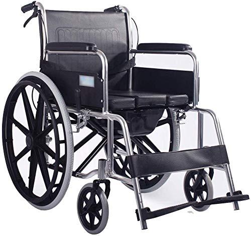 LXTIN Faltbarer Leichtgewicht-Rollstuhl Mit Toilette Leichtgewichtiger Selbstfahrender Klapprollstuhl Handbetriebener Aluminiumrollstuhl Mit Abnehmbarer Bettpfanne Rollstuhl Für Behinderte