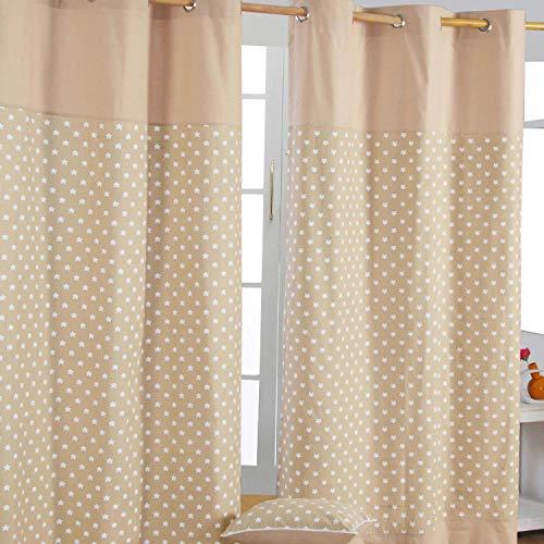 Homescapes Vorhang Kinderzimmer Ösenvorhang Kindervorhang Stars 2er Set beige 117 x 137 cm (Breite x Länge je Vorhang) 100% Reine Baumwolle