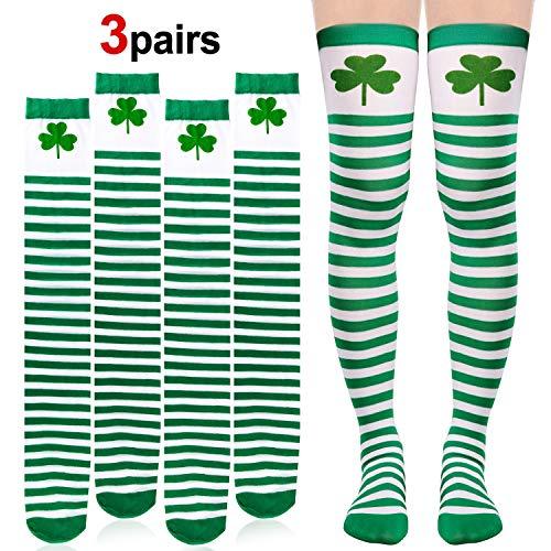 Konsait 3Pack St. Patricks Day Socks Shamrock Ireland Long Striped Over Knee Thigh High Green White Silk Stockings Women Girl Saint Patrick's Day Gift Accessories Party Favor Supplies