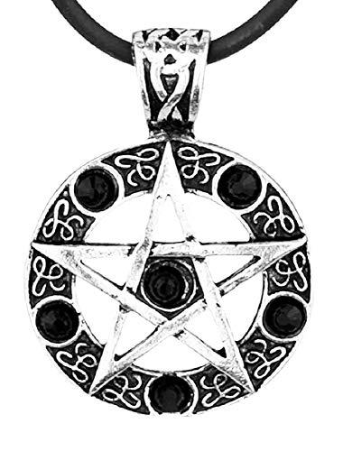 Ketting voor mannen - mannen en vrouwen - dean sam - pentagram - winchester - zilver - vijfpuntige ster - origineel cadeau-idee - zwart - kostuumjuwelen supernatural strass
