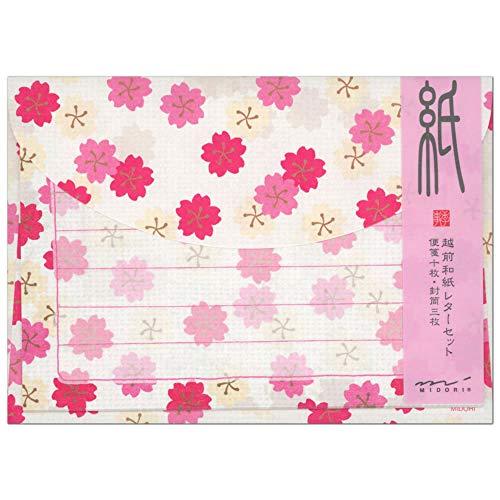 レターセット 春柄 小紋桜柄 86470 (14) 「紙」シリーズ 越前和紙 便箋10枚・封筒3枚 ミドリ (ZR)