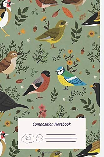 Composition Notebook: Garden Birds Composition Notebook for Journaling, Note Taking in schools