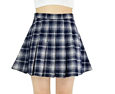 YSJERA Lady's Chic Flared Check Plaid Pleated A-Line Short Mini Skater Skirts