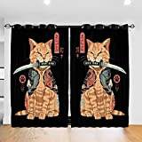 Mein Zwergenland Japanese Samurai Ninja Cat Curtains for Window 52 x 72 Inch
