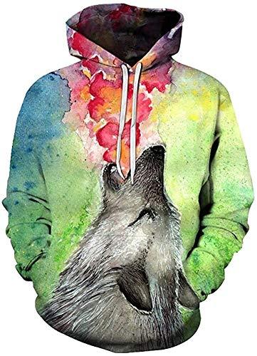 Kapuzenpullover Unisex Hoodie 3D Print Tier Wolf Mit Kapuze Sweatshirt Männer Frauen Mode Lässige Pullover Hoodies mit großen Taschen (Color : 8, Size : L)