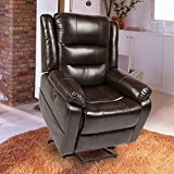 Electric Power Lift Recliner Chair, Leather Recliners for Elderly, Home Sofa Chairs with Heat & Massage, Remote Control, 3 Positions, 2 Side Pockets and USB Ports, Espresso