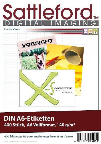 Sattleford Etikettendrucker: 400 Etiketten A6 105x148 mm für Laser/Inkjet (Etiketten-Papier)