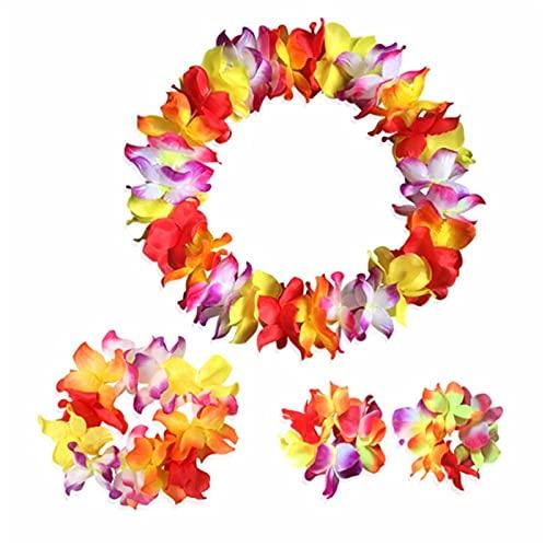 yqs Decoración de Fiesta de Hawaii 4 PCS Tropical Hawaiian Luau Lei Estilos Collares Pulseras Pulseras Set - Accesorios de decoración del hogar Flores Artificiales