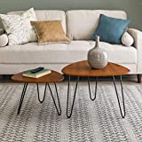 Walker Edison Furniture Company Mid Century Modern Hairpin Coffee Table Set Living Room, Nesting, Walnut