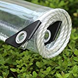 Transparent Tarp Waterproof with Grommets, Clear Tarpaulin Cover, Tarps Heavy Duty, Multi-Purpose Tarps, for Gardens Terraces Balconies Automobiles Plant Greenhouses, Canopies,1.5x3m/4.9x9.8ft