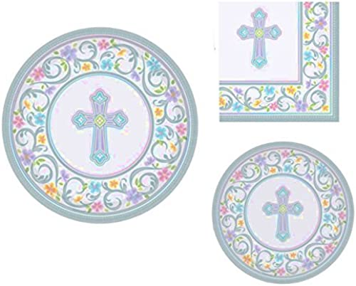 Inspirational Religious Party Supplies for 18 People  Dinner Plates, Dessert Plates and Napkins 72 Piece Bundle by CBD