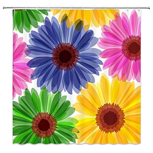 BCNEW Colorful Flower Shower Curtain Decor Daisy Pink Yellow Blue Green Bathroom Curtain Polyester Fabric Machine Washable with Hooks 70x70 Inches