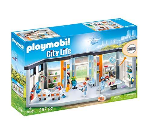 PLAYMOBIL City Life 70191 Krankenhaus mit Einrichtung, Mit Lichteffekten, Ab 4 Jahren