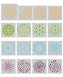 Angshop 16 Stück Mandala Dotting Schablonen - verschiedene Muster Mandala Dot Malvorlage für Stein Wand Kunst, Leinwand, Holz Möbel Malerei