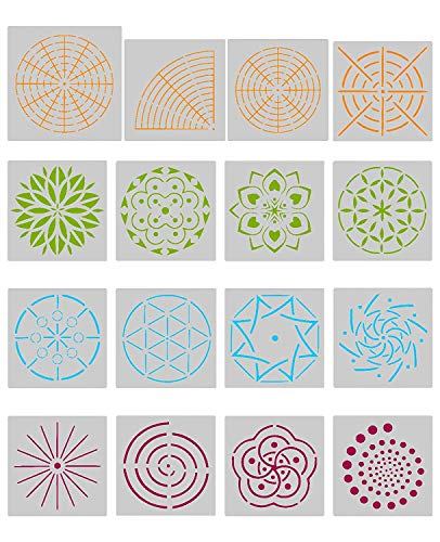 Angshop 16 STKS Mandala Art Stencils Mandala Dot Schilderij Stencils Sjablonen voor Mandala Stone Rock Schilderen Muur…