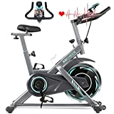 ANCHEER Indoor Exercise Bike, Cycling Bike Stationary with Heart Rate Monitor & LCD Monitor, Comfortable Seat Cushion, Cardio Bike with Multi - Grips Handlebar (Gray)
