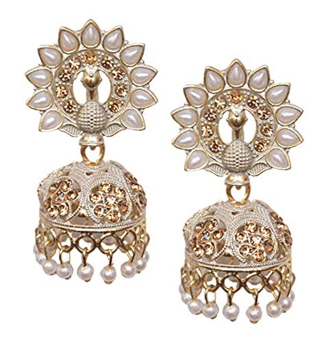 Pahal Jaipur - Pendientes de Jhumka con perlas blancas pintadas en oro grande, diseño de pavo real, indio, Bollywood, para fiesta, joyería para mujer