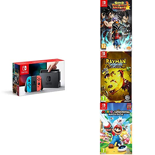 Pack Switch Néon + jeux Mario Lapins Crétins + Rayman + Super Dragon Ball Heroes World Mission Switch