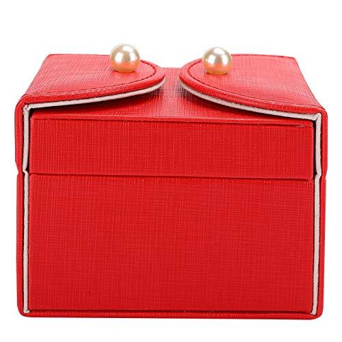 Caja de almacenamiento de pendientes de anillo pequeño de poliuretano, adecuada para colocar pendientes y collares de anillo (rojo)