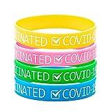 BDL Packung mit 20 Stück Armbänder Epidemieprävention Silikonarmband Armband tragbar Wasserdichtes Armband mit,COVID-19 GEIMPFTEN' Wortmustern Gut für Männer Frauen