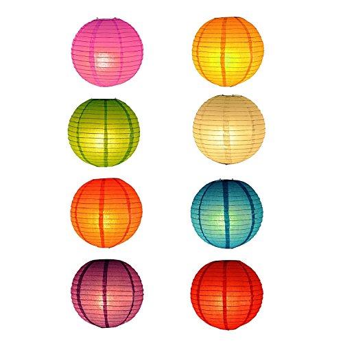 RETON 10 Unids Linternas de Papel Chino/Japonés Linternas Tradicionales Plegable en Múltiples Colores para la Fiesta de Jardín de Jardín Decoración de Navidad en el Hogar