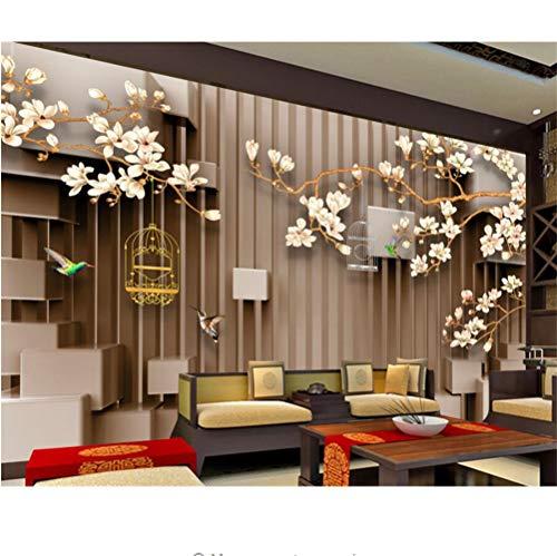 Meaosy 3D Handbeschilderde Magnolia Vogel Vogelkooi Fotobehang 3D Stereoscopische Ruimte Tv Achtergrond Wallpaper voor Muren 3 D 350x250cm