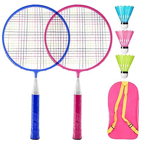 Raquetas Badminton Niños,Set de Bádminton para Niños, Raqueta de Juguete Deportivo Bádminton,con 2 Raquetas de Bádminton y 3 Volantes,Juego de Deportes de Playa al Aire Libre