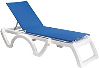 Case of 12 Grosfillex Calypso Stacking Adjustable Resin Sling Chaise - White Frame, Blue Sling