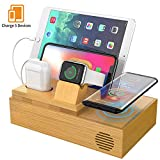 HiGoing Handy Induktionsladegeräte, Kabellose Ladestation Bambus 5 in 1 USB Ladestation für iWatch...