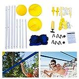 KLOP256 Rete da pallavolo e Set di Palline, Rete da Beach Volley Portatile con Rete a Maglie + Sistema di Altezza Regolabile