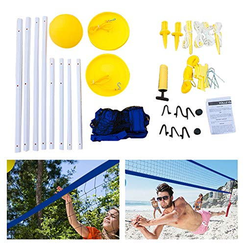 KLOP256 Volleyball Net and Ball Set, Portable Beach Volleyball Net with Stand Mesh + Adjustable Height System