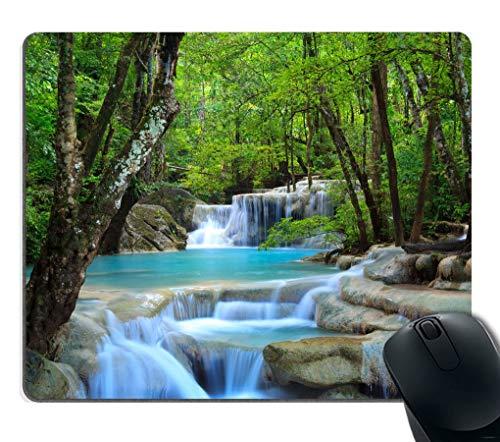 Gaming Mouse Pad Benutzerdefiniert, Wasserfälle Forest Creek Landschaft Bäume Wasserfall Steine rutschfeste dicke Gummi Mauspad