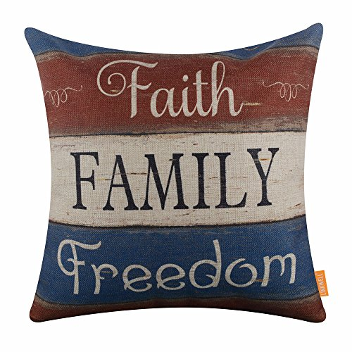 """LINKWELL 18""""x18"""" Independence Day Holiday Faith Family Freedom Burlap Pillow Cover Cushion Cover CC1410"""