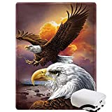 Morebee Two Eagle Fleece Throw Blanket Custom Design Soft Lightweight Blanket for Bed Couch Sofa Travelling Camping for Kids Boys Adults(30'x 45')