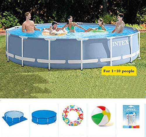 Zestaw basenowy ze stelażem z okrągłymi rurkami stalowymi, dla 1-10 osób, dzieci, dorosłych, prezent na lato, 6503 l, odporny na rozdarcie materiał PCW o jakości artykułów spożywczych, 366 x 76 cm