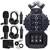 Zoom H8 8-Input / 12-Track Portable Handy Recorder For Podcasting, Music, Field Recording + 2x Zoom ZDM-1 Podcast Mic + 2x Headphones + 2x Windscreens + 2x Tabletop Stands + Cables - Recording Bundle