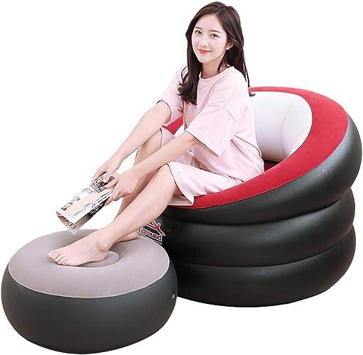 Byjia Sofa Gonflable Simple de Chaise avec Le Tabouret, Tissu floqué par Jardin en Plein air de Camping extérieur de siège de Jeu