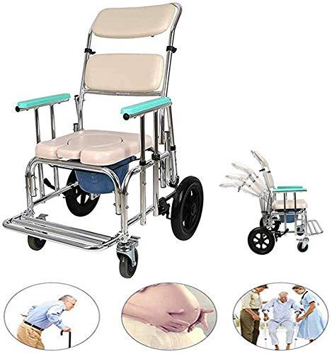 N/Z Heimtextilien Verstellbarer Rückenlehnen-Duschstuhl Rollstuhl mit Rädern und Fußstützen Commode Chair Mobile 94
