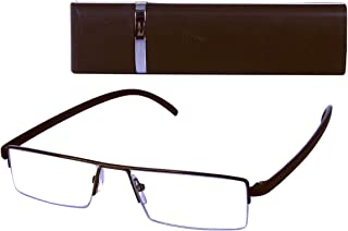 Mad Man Cheater Eyeglasses W/Flip Top Case; Mens Reading Glasses by Mad Style