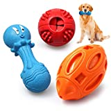 Utewya Dog Chew Toys for Aggressive Chewers,Squeaky Dog Toys,IQ Treat Ball.Natural Rubber,Interactive and Durable Tough Doy Toys for Medium Large Breed Dogs,3 Pcs Different Functions