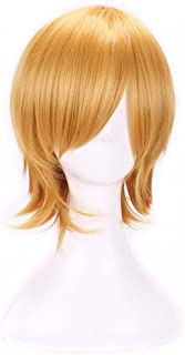 AneShe Men's Short Straight Layered Hair Anime Cosplay Costume Wig (Golden)