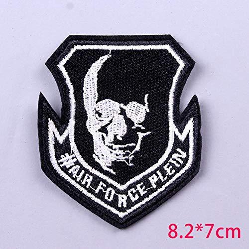 LLine schedel punk rock band patches voor kleding diy geborduurdeijzer op patches op kleding hiphop badges voor sticker applique, 5P-PE3640CT