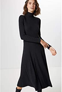VESTIDO ML CANELADO BASIC-BLACK